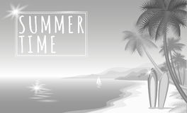 Summer sea palm beach gray white monochrome web banner. Sand seashore blue water wave sunshite hot day surf boards boat. Neutral b Stock Photos