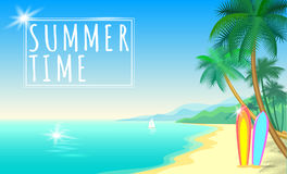Summer sea palm beach web banner. Sand seashore blue water wave sunshite hot day surf boards boat. Background  illustration Royalty Free Stock Photography