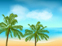 Summer sea and palm tree background landscape Stock Photo