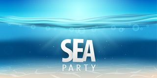 Summer sea party, sale posters. Vector illustration with deep underwater ocean scene. Background with realistic clouds royalty free stock photo