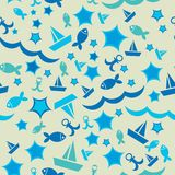 Seamless pattern with boats waves and fish, starfish, anchors. V. Summer sea pattern, summer pattern, sea pattern, beach pattern, summer seamless pattern, summer Royalty Free Stock Photo