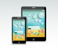Summer sea rest background on the screen of smartphone and table. T PC. Vector illustration Royalty Free Stock Images