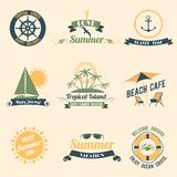 Summer sea retro labels Royalty Free Stock Photography