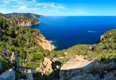 Summer sea rocky coast view Spain. Stock Photo