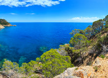 Summer sea rocky coast view Spain. Royalty Free Stock Images