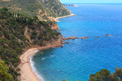 Summer sea rocky coast view Spain. Royalty Free Stock Photography