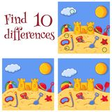Summer sea sand castle and toys find 10 differences quiz vector cartoon illustration. Summer sea sand castle and toys view find 10 differences quiz preschool royalty free illustration