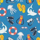 Summer and sea seamless pattern vector illustration