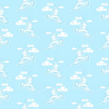 Summer sea seamless pattern. Illustration of bird seagull, sky a Royalty Free Stock Images