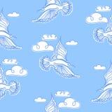 Summer sea seamless pattern. Illustration of bird seagull Stock Photos