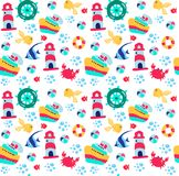 Summer sea seamless pattern. Seamless background . Vector illustration 10 EPS. Summer sea seamless pattern. Seamless background . Vector illustration 10 EPS Royalty Free Stock Photos