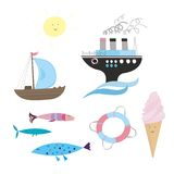 Summer sea set Stock Images