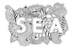 Summer sea shells, waves, corals and seaweeds banner design. Vector  background. Yand drawn emblem Royalty Free Stock Photography