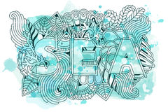 Summer sea shells, waves, corals and seaweeds banner design. Vector watercolor background Stock Photos