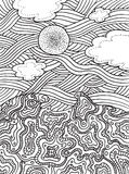 Summer sea and sky with clouds and sun. Vector hand drawn line art for coloring page or book for adults and children. Doodle and zentangle illustration Stock Image