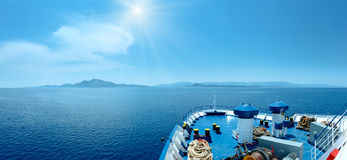Summer sea sunshiny view from ferry Greece Stock Photos