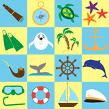 Summer sea travel doodle stuff set. Isolated items on color background Stock Photos