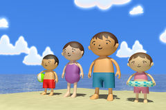 Summer sea trip. Families come to play in the sea. In the summer enjoy the sea. Family of four, father, mother, son, daughter play with. Illustration 3DCG Stock Photos