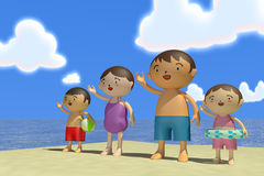 Summer sea trip. Families come to play in the sea. In the summer enjoy the sea. Family of four, father, mother, son, daughter play with. Illustration 3DCG Royalty Free Stock Photography