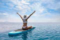Summer sea vacation concept with happy woman stock photo