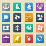 Summer Sea Vacation Icons Stock Images