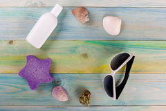 Summer sea vacation mockup background. Notebook blank page with Travel items on blue green wooden table. Sea shells Royalty Free Stock Photography