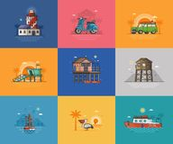 Summer Sea Vacation Scenes and Cards. Abstract seaside coast landscapes. Beach resort town places and infrastructure spot illustrations for tourist travel agency royalty free illustration