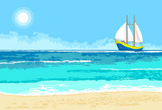 Summer sea view with sailboat background royalty free stock images
