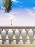 Summer sea view stone classic balustrade with cocktail glass and palm leaves render background image Royalty Free Stock Image