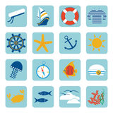 Summer sea voyage set of flat icons. Summer sea voyage set of flat ikons on a blue background Royalty Free Stock Photo