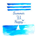 Summer sea watercolor background Stock Photo