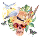 Summer sea watercolor skull, straw hat, seagull Royalty Free Stock Image