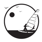 Summer, sea, windsurfing. Vector. Stock Photo