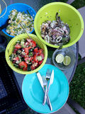 Summer seafood BBQ. Bowls of fresh seafood and salad ready for a summer bbq stock photography