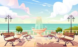 Free Summer Seafront With Fountain And Benches Royalty Free Stock Photos - 175025398