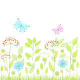 Summer seamless background. Summer seamless background with flowers and butterflies Royalty Free Stock Photo