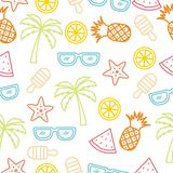 Colorful Summer Handrawn Seamless Background Stock Images