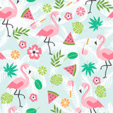 Summer seamless background with flamingo stock illustration