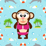 Summer seamless background with monkey Stock Photography