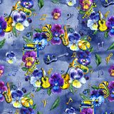 Summer seamless background pattern with pansy flowers and musical elements. Summer seamless background pattern with pansy flowers and musical elements, a repeat royalty free stock photo