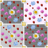 Summer seamless background set of 4 variants. Collage of elements photo vector illustration