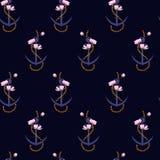 Summer seamless pattern anchor marine rope mixed royalty free illustration