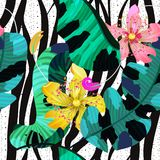 Summer Seamless Pattern / Background, Tropical Flowers, Banana Leaves And Zebra Lines Royalty Free Stock Photos