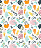 Summer seamless pattern with beach accessories on the white background. Vector hand drawn illustration. Stock Illustration