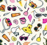 Summer seamless pattern with beach things on the sand. Stock Image
