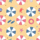 Summer Seamless Pattern. Beach with umbrellas and other summer elements. Vector Illustration. royalty free stock photography