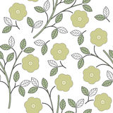 Summer seamless pattern with beauty flowers and leaves  Stock Photos