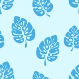 Summer seamless pattern - blue leaves monstera tropical palm tree. vector illustration