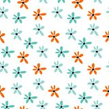 Summer seamless pattern with blue and orange flowers. Floral cartoon printing royalty free illustration