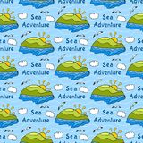 Summer seamless pattern with bright images of Stock Photos